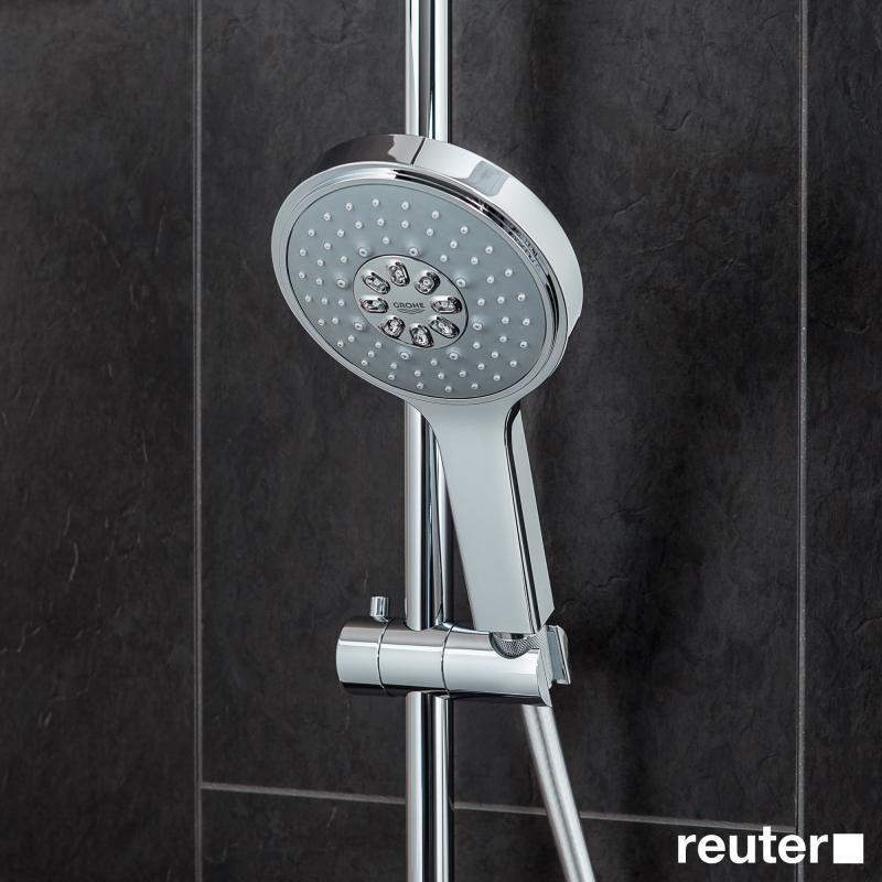 grohe rainshower system 310 duschsystem mit thermostatbatterie f r wandmontage 27968000 reuter. Black Bedroom Furniture Sets. Home Design Ideas