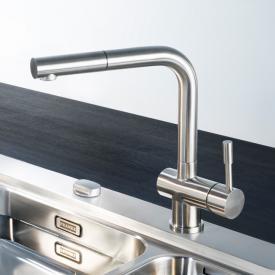 Franke Atlas Einhebelmischer mit Zugauslauf, Ausladung 216 mm, edelstahl