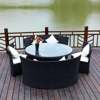 outflexx gartenm bel aus polyrattan teak. Black Bedroom Furniture Sets. Home Design Ideas