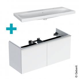 Geberit Acanto Doppelwaschtisch mit Waschtischunterschrank mit 2 Auszügen Front weiß / Korpus weiß hochglanz, Griff weiß, WT weiß, mit 2 Hahnlöchern, mit Überlauf