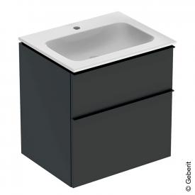 Geberit iCon Slim Waschtisch mit Waschtischunterschrank mit 2 Auszügen Front lava matt / Korpus lava matt, Griff lava matt, WT weiß