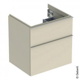 Geberit iCon Waschtischunterschrank mit 2 Auszügen Front sandgrau hochglanz / Korpus sandgrau hochglanz, Griff sandgrau matt