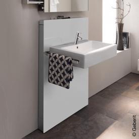 Geberit Monolith Sanitärmodul für Waschtisch, H: 114,5 cm, für Standarmatur, Auszug links Glas weiß
