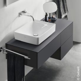 Geberit VariForm Waschtischunterschrank für Aufsatzwaschtisch mit 3 Auszügen Front lava matt / Korpus lava matt
