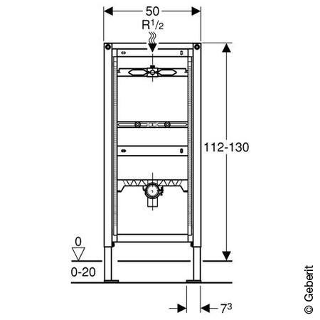 Geberit Duofix Urinal-Montageelement, 112-130cm, für AP-Druckspüler