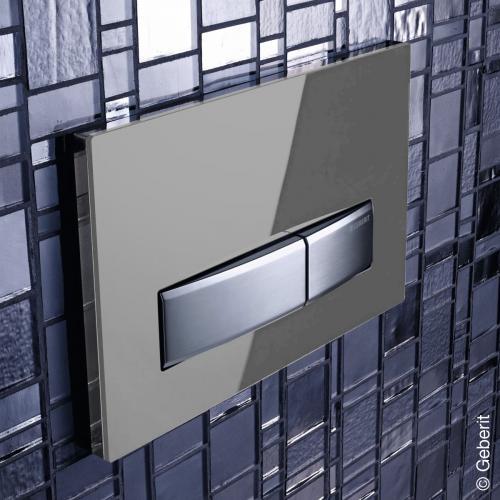 geberit sigma50 bet tigungsplatte f r 2 mengen sp lung rauchgrau chrom geb rstet 115788sd5. Black Bedroom Furniture Sets. Home Design Ideas