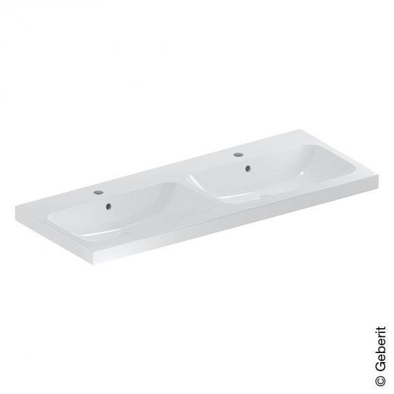 Geberit iCon Light Doppelwaschtisch weiß, mit KeraTect, mit 2 Hahnlöchern, mit Überlauf