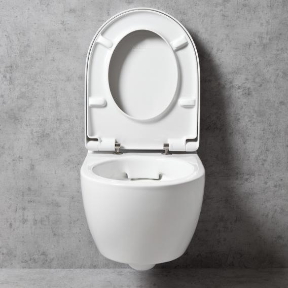 Geberit iCon & Tellkamp Premium 1000 Wand-Tiefspül-WC-SET mit Montagezubehör: WC-Sitz mit Absenkautomatik, WC ohne Spülrand weiß, mit KeraTect