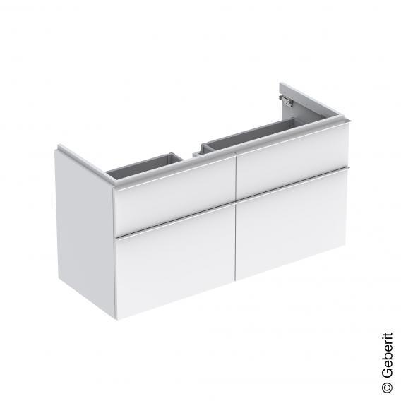 Geberit iCon Waschtischunterschrank mit 4 Auszügen für Doppelwaschtisch Front und Korpus Alpin hochglanz