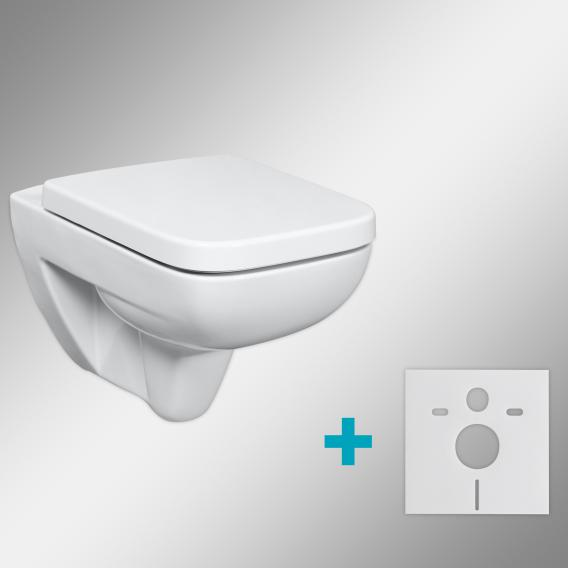Geberit Renova Plan & Tellkamp Premium 2000 WC-SET mit Zubehör: WC mit Spülrand, mit KeraTect, WC-Sitz mit Absenkautomatik