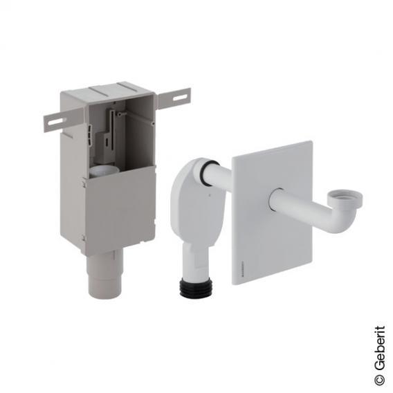 Geberit Unterputz-Geruchsverschluss für Waschbecken, mit Wandeinbaukasten & Fertigbauset edelstahl gebürstet