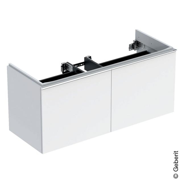 Geberit Acanto Waschtischunterschrank für Doppelwaschtisch mit 2 Auszügen Front weiß / Korpus weiß hochglanz, Griff weiß