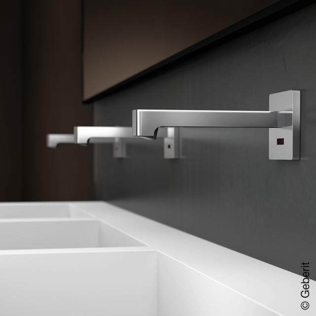Geberit Brenta Wand-Waschtischarmatur für Unterputz-Funktionsbox, mit Temperaturvoreinstellung Netzbetrieb, Ausladung: 170 mm