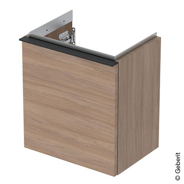 Geberit iCon Handwaschbeckenunterschrank mit 1 Tür Front eiche natur / Korpus eiche natur, Griff lava matt