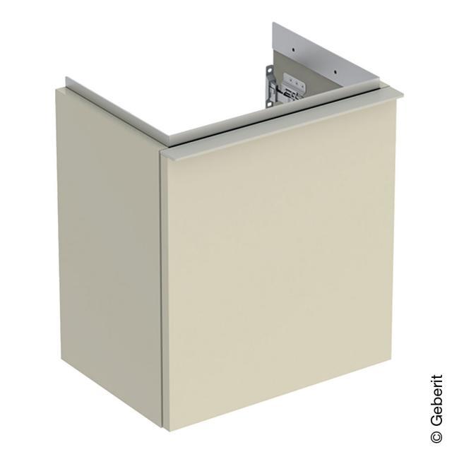 Geberit iCon Handwaschbeckenunterschrank mit 1 Tür Front sandgrau hochglanz / Korpus sandgrau hochglanz, Griff sandgrau matt