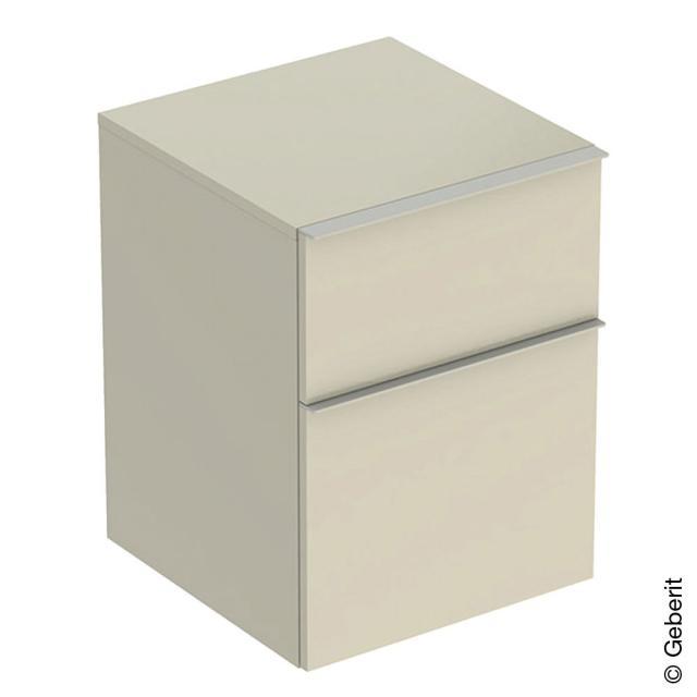 Geberit iCon Seitenschrank mit 2 Auszügen Front sandgrau hochglanz / Korpus sandgrau hochglanz, Griff sandgrau matt
