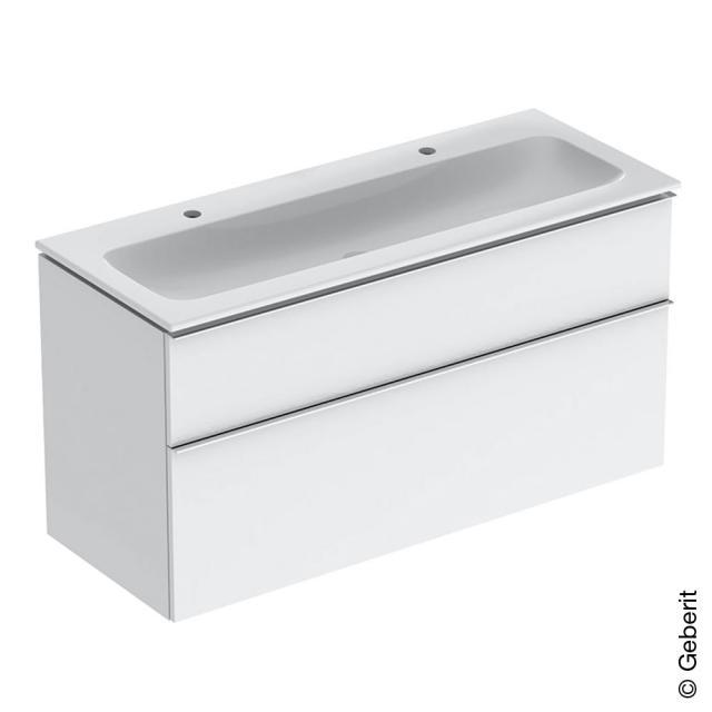 Geberit iCon Slim Doppelwaschtisch mit Waschtischunterschrank mit 2 Auszügen Front weiß hochglanz / Korpus weiß hochglanz, Griff chrom, WT weiß, mit KeraTect