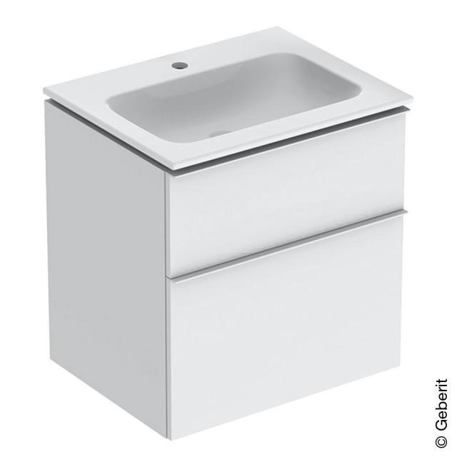 Geberit iCon Slim Waschtisch mit Waschtischunterschrank mit 2 Auszügen Front weiß hochglanz / Korpus weiß hochglanz, Griff chrom, WT weiß, mit KeraTect
