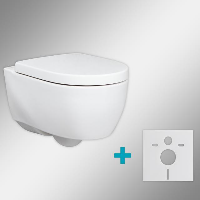 Geberit iCon & Tellkamp Premium 1000 Wand-Tiefspül-WC-SET kurz mit Montagezubehör: WC-Sitz mit Absenkautomatik, WC ohne Spülrand weiß, mit KeraTect