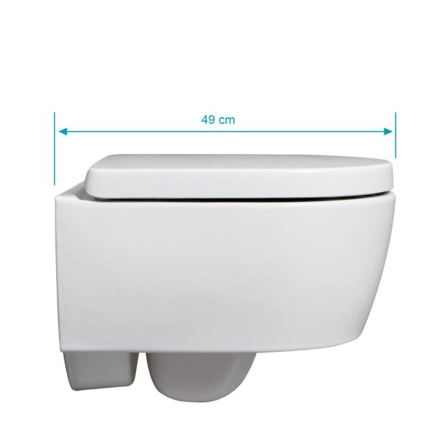 Geberit iCon & Tellkamp Premium 1000 Wand-WC-SET kurz: WC ohne Spülrand, mit KeraTect, WC-Sitz mit Absenkautomatik