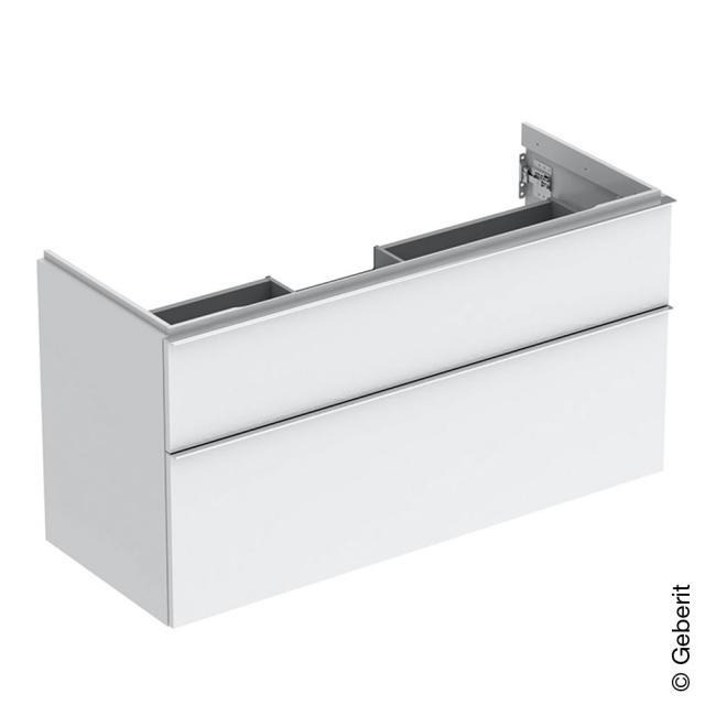 Geberit iCon Waschtischunterschrank mit 2 Auszügen Front weiß hochglanz / Korpus weiß hochglanz, Griff chrom