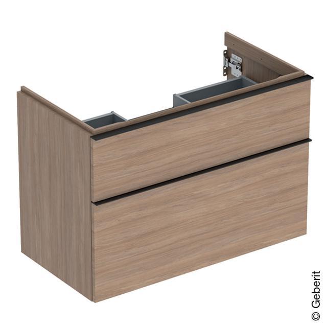 Geberit iCon Waschtischunterschrank mit 2 Auszügen Front eiche natur / Korpus eiche natur, Griff lava matt