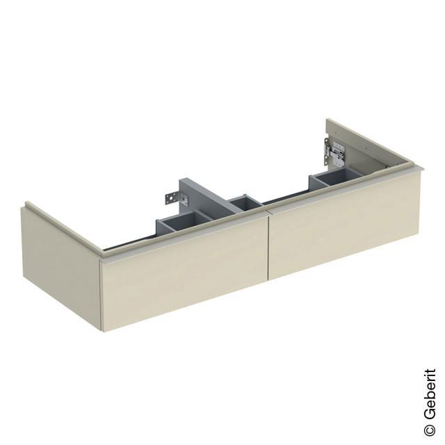 Geberit iCon Waschtischunterschrank für Doppelwaschtisch mit 2 Auszügen Front sandgrau hochglanz / Korpus sandgrau hochglanz, Griff sandgrau matt