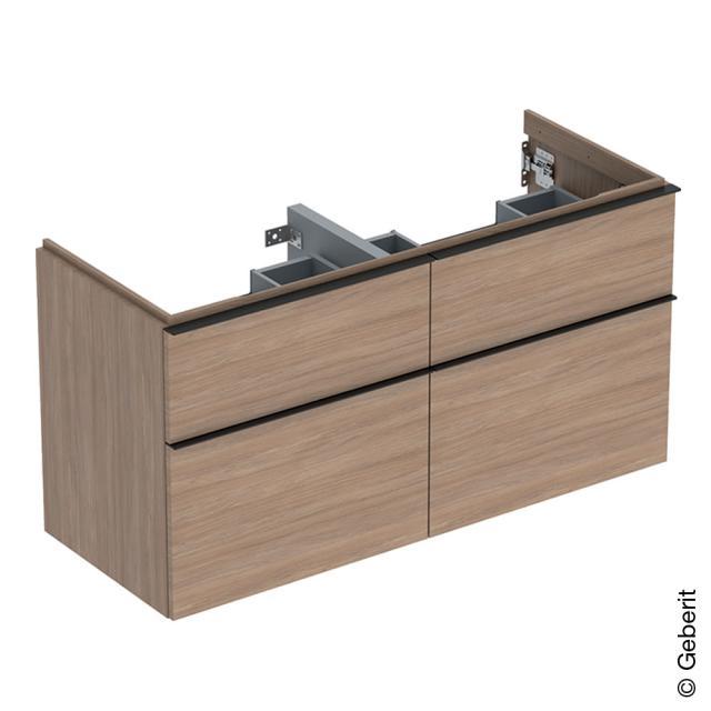 Geberit iCon Waschtischunterschrank für Doppelwaschtisch mit 4 Auszügen Front eiche natur / Korpus eiche natur, Griff lava matt