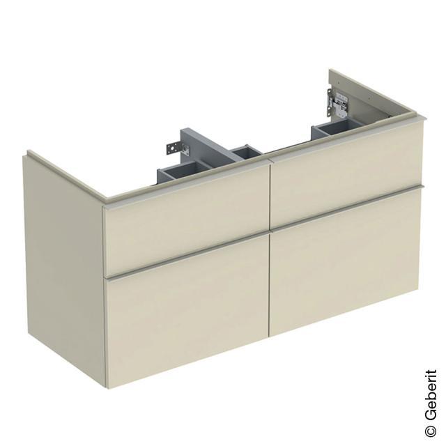 Geberit iCon Waschtischunterschrank für Doppelwaschtisch mit 4 Auszügen Front sandgrau hochglanz / Korpus sandgrau hochglanz, Griff sandgrau matt