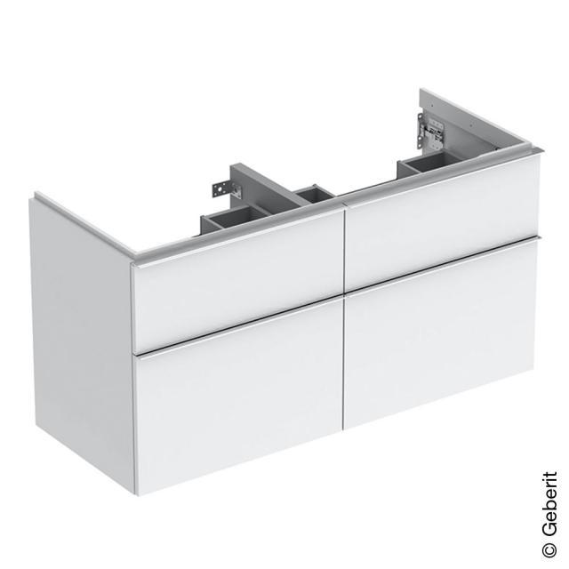 Geberit iCon Waschtischunterschrank für Doppelwaschtisch mit 4 Auszügen Front weiß hochglanz / Korpus weiß hochglanz, Griff chrom