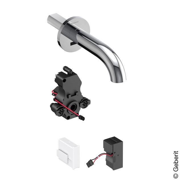 Geberit Piave Wand-Waschtischarmatur für Unterputz-Funktionsbox, mit Temperaturvoreinstellung Netzbetrieb, Ausladung: 170 mm