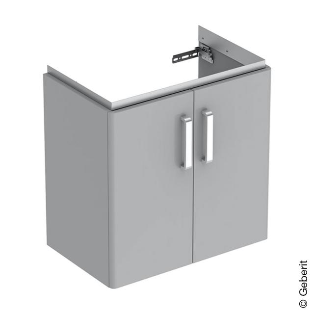 Geberit Renova Compact Waschtischunterschrank mit 2 Türen Front hellgrau hochglanz / Korpus hellgrau matt
