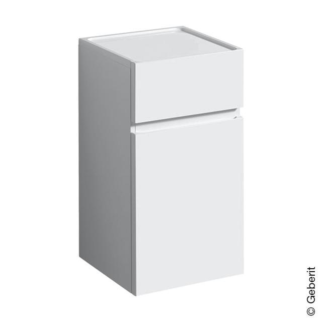 Geberit Renova Plan Seitenschrank mit 1 Tür und 1 Auszug Front weiß hochglanz / Korpus weiß hochglanz