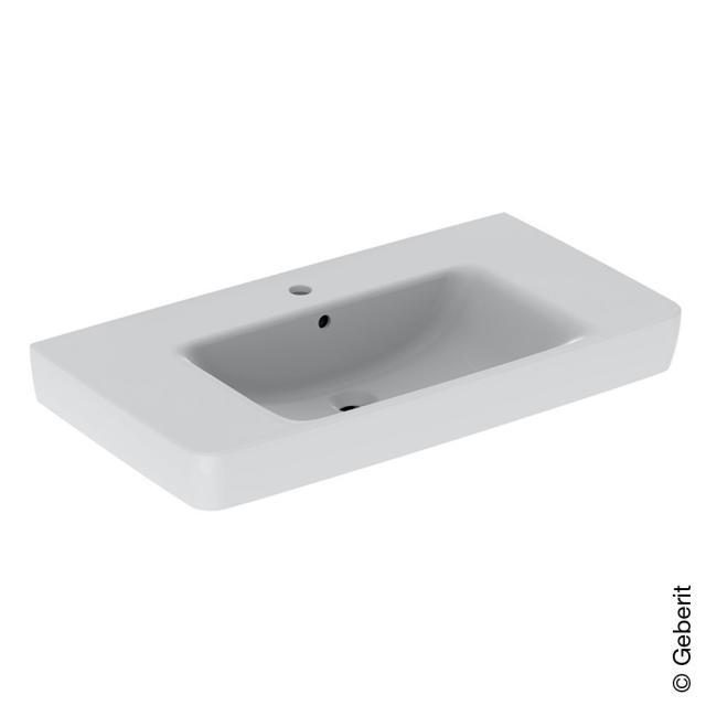 Geberit Renova Plan Waschtisch mit Ablagefläche weiß, mit KeraTect, mit 1 Hahnloch, mit Überlauf, ungeschliffen