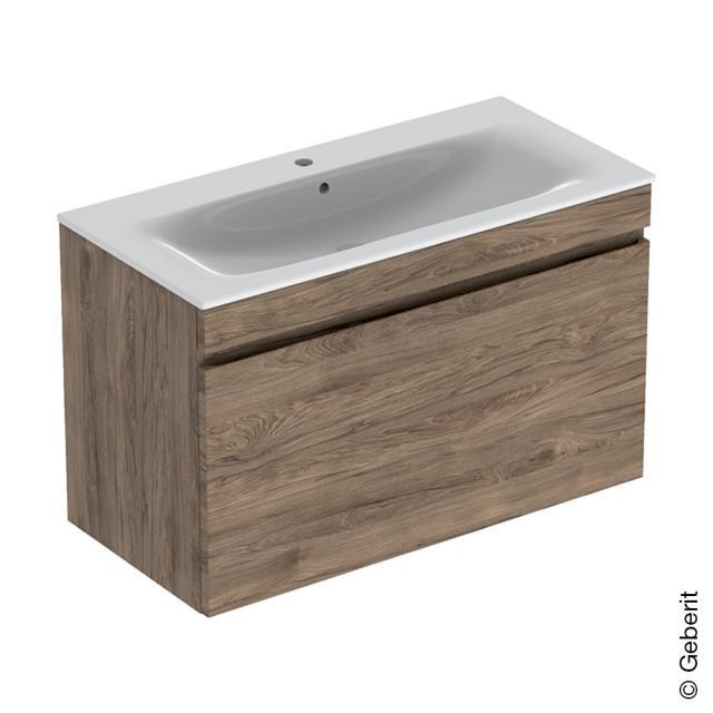 Geberit Renova Plan Waschtisch mit Waschtischunterschrank mit 1 Auszug und Innenschublade Front nussbaum / Korpus nussbaum, WT weiß
