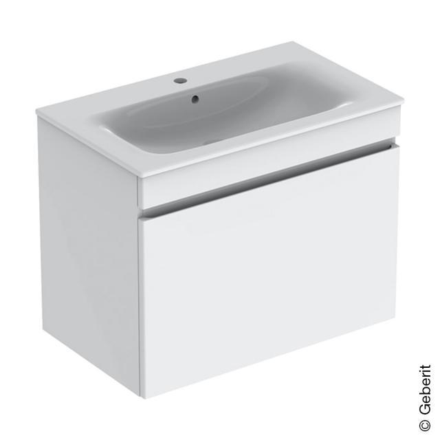Geberit Renova Plan Waschtisch mit Waschtischunterschrank mit 1 Auszug und Innenschublade Front weiß hochglanz / Korpus weiß hochglanz, WT weiß