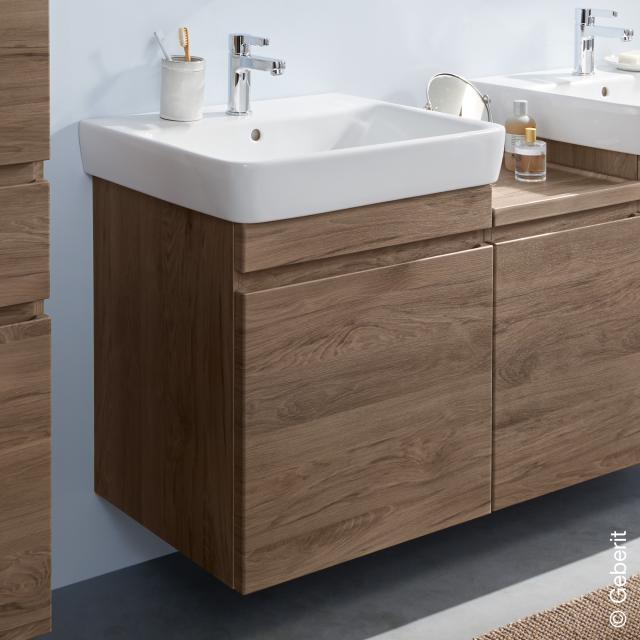 Geberit Renova Plan Waschtischunterschrank mit 1 Auszug und Innenschublade Front nussbaum / Korpus nussbaum