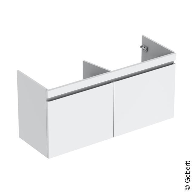 Geberit Renova Plan Waschtischunterschrank für Doppelwaschtisch mit 2 Auszügen und 2 Innenschubladen Front weiß hochglanz / Korpus weiß hochglanz