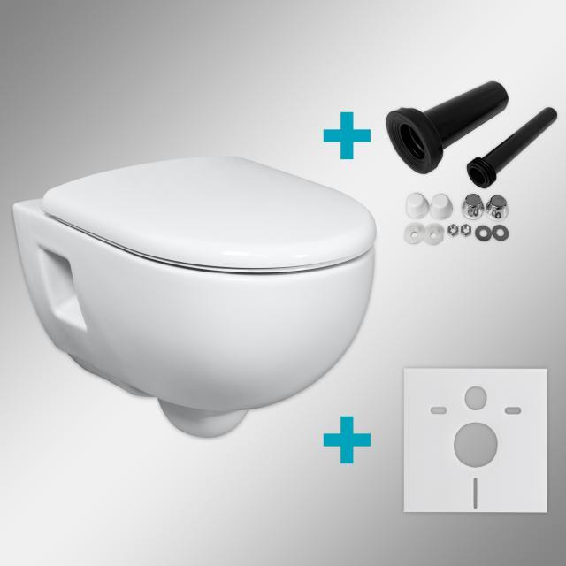 Geberit Renova & Tellkamp Premium 3000 Wand-WC-SET mit Montagezubehör, ohne Spülrand: WC mit KeraTect, WC-Sitz mit Absenkautomatik