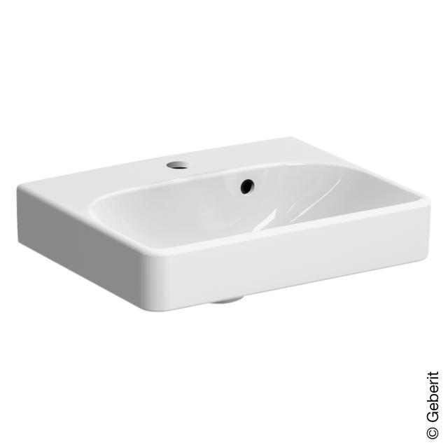 Geberit Smyle Square Handwaschbecken mit asymmetrischen Überlauf weiß, mit KeraTect
