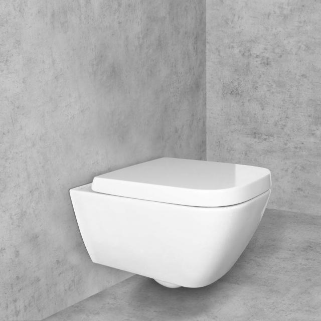 Geberit Smyle Square Wand-Tiefspül-WC & Tellkamp Premium 8000 WC-Sitz SET weiß, mit KeraTect