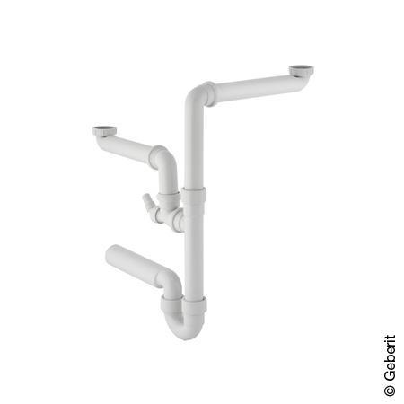 Geberit Spültischablauf für zwei Becken (Raumsparmodell) Rohrdurchmesser 50 mm