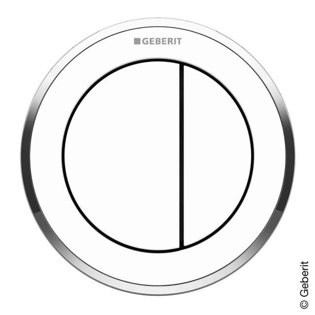 Geberit Typ 10 Fernbetätigung, pneumatisch, für 2-Mengen-Spülung, Möbeldrücker weiß, Designring chrom