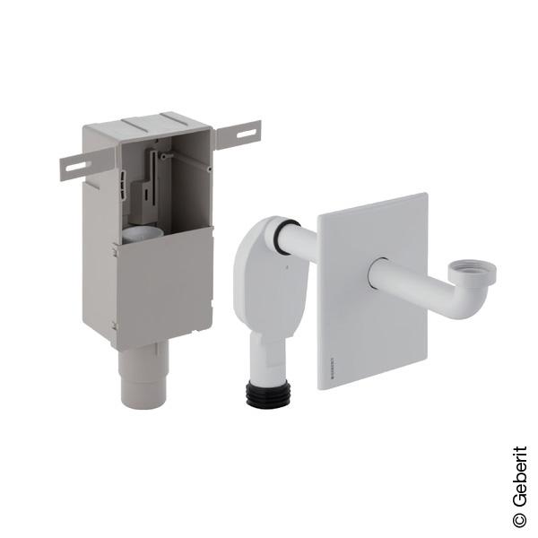 Geberit Unterputz-Geruchsverschluss für Waschbecken, mit Wandeinbaukasten & Fertigbauset weiß