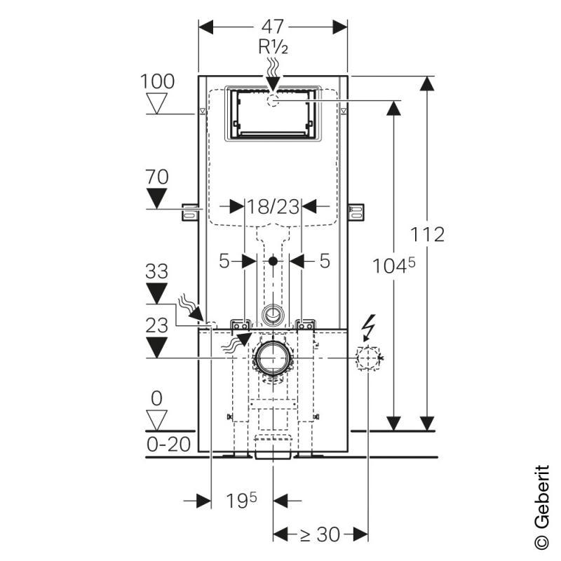 geberit sanbloc wand wc element 112 cm mit up spk up320 440300005 reuter. Black Bedroom Furniture Sets. Home Design Ideas