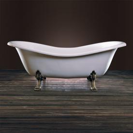 Schröder Cleopatra Retro Style Freistehende Oval-Badewanne weiß, mit Löwenfüßen und Ablaufgarnitur in altgold