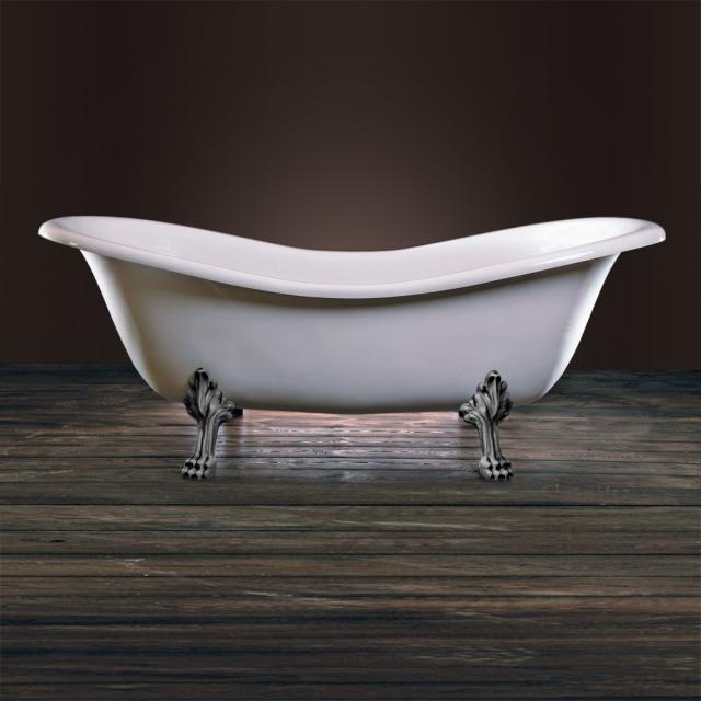 Schröder Cleopatra Retro Style Freistehende Oval-Badewanne weiß, mit Löwenfüßen und Ablaufgarnitur in chrom
