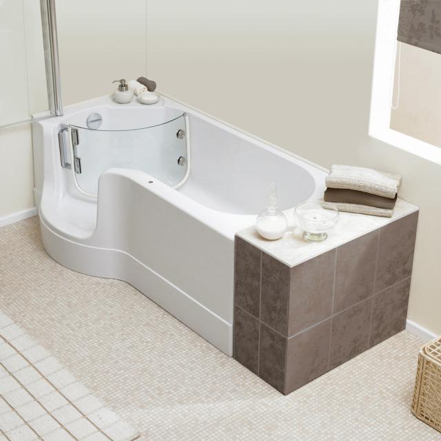 Schröder Pazifik Rechteck-Badewanne mit Duschzone und Verkleidung Ecke links