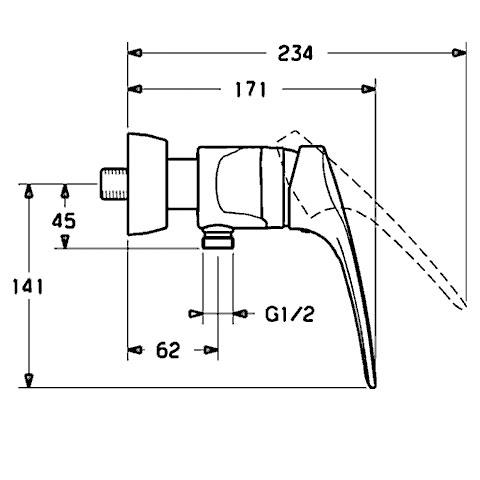 Hansa Mix-Medica Einhand-Brause-Batterie für Wandaufbau
