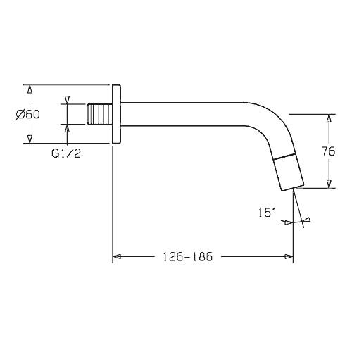 Hansa Nova Style Waschtisch-Wandauslaufventil Ausladung: 186 mm